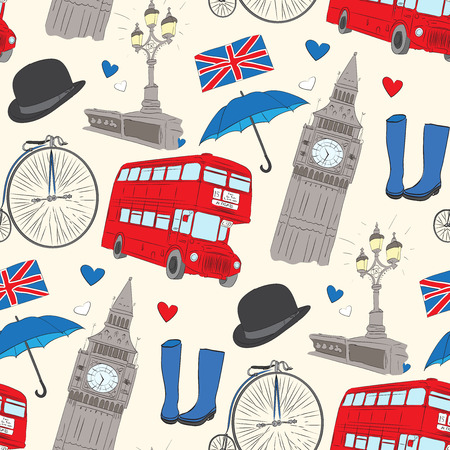 Vector hand drawn London pattern with elements Big Ben clock, flag of Great Britain, policeman helmet, red bus, umbrella, boots, Street light