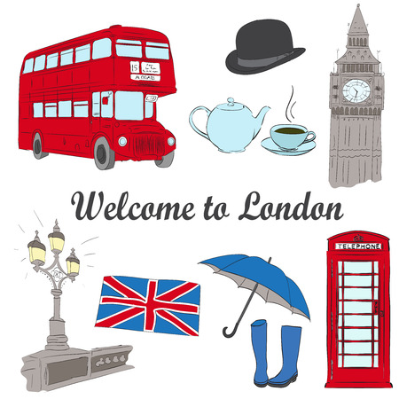 great coffee: Vector hand drawn London set with Big Ben clock, flag of Great Britain, hat, red bus, umbrella, boots, Street light, cup of coffee Illustration