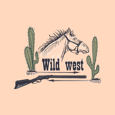 Wild west emblem with horse, revolver and cactus