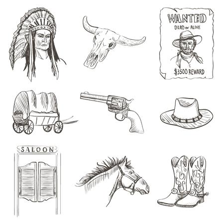 botas vaqueras: Icono del oeste salvaje, occidental vaquero cartel buscado con Injun, kofboy, caballo, cactus, sombrero, sheriff, revólver, cráneo, berlina, furgoneta Vectores