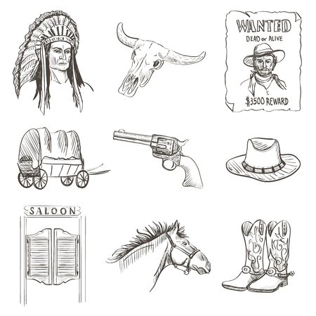 Wild west icon, western wanted cowboy poster with Injun, kofboy, horse, cactus, hat, sheriff, revolver, skull, saloon, van