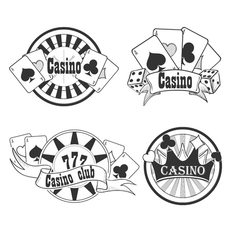 casino chip: Casino and gambling badges or emblems each with word  Casino decorated with a hand of aces playing cards, dice, roulette board, casino chips or tokens and lucky number 777 Illustration