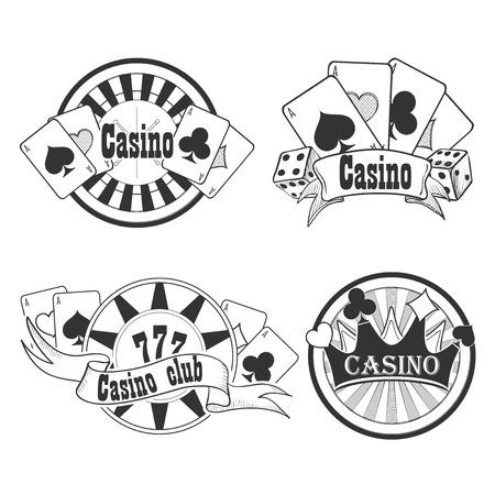 ruleta casino: Casino y juego insignias o emblemas cada uno con Casino palabra decorado con una mano de ases jugando a las cartas, dados, tablero de la ruleta, fichas de casino o fichas y n�mero de la suerte 777
