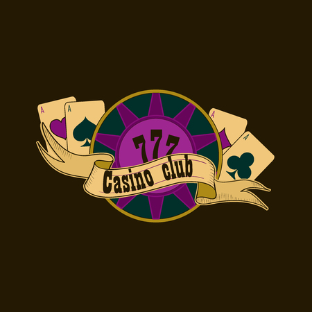 tokens: Casino and gambling badges or emblems each with aces playing cards, casino chips or tokens and lucky number 777 Illustration