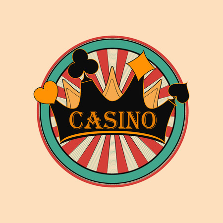 tokens: Casino and gambling badges or emblems each with casino chips or tokens and crown Illustration