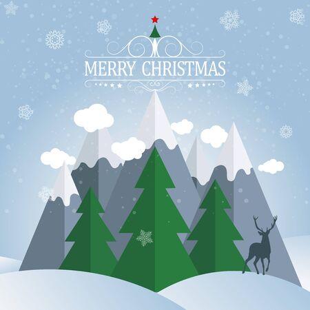 winter holidays: Christmas card. Winter holidays landscape. Excellent vector illustration, EPS 10