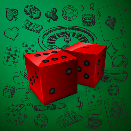 tokens: Hand drawn Casino icons set with dice game and with a hand of aces playing cards, dice, roulette board, casino chips or tokens and lucky number 777