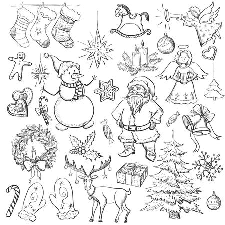 Hand getrokken Kerstmis en Nieuwjaar elementen met kerst wanten, snoep riet, hulst bessen, glimlachende sneeuwman, kous met kerstboom, herten, Santa, engel, kaars, kerstmis speelgoed, giften en klokken. Stock Illustratie