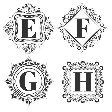 Set of classical logo or monogram design. Letters E, F, G, H. excellent vector illustration, EPS 10