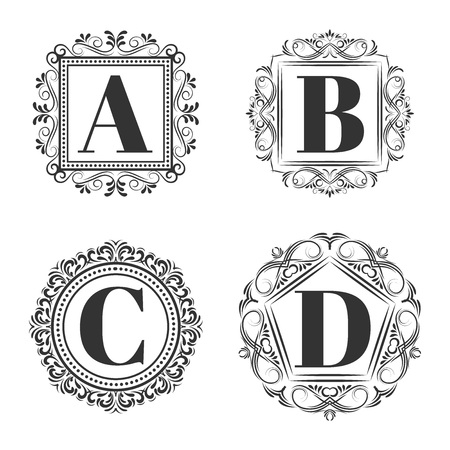 d: Set of classical logo or monogram design. Letters A, B, C, D. excellent vector illustration, EPS 10