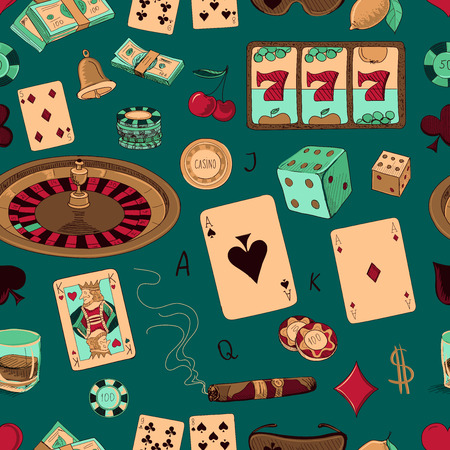 poker chip: Seamless casino hand drawn pattern with a hand of aces playing cards, dice, roulette board, casino chips or tokens and lucky number 777