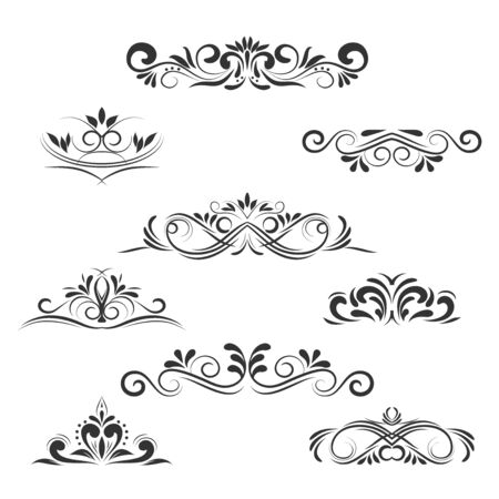 scroll border: Vintage Vector Decorative Elements, calligraphic design elements and page decoration, exclusive, highest quality, retro style set of ornate floral patterns template
