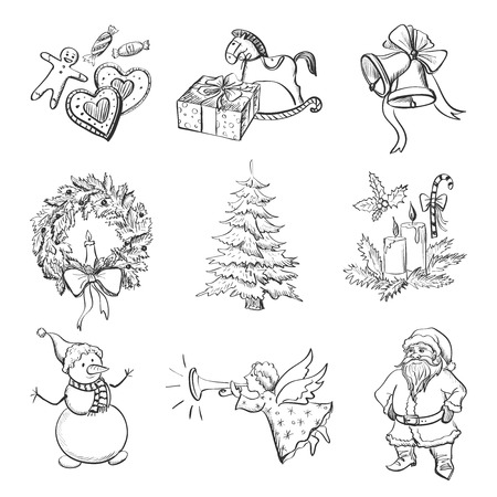 Christmas hand drawn icon set with Christmas mittens, candy cane, holly berries, smiling snowman and stocking, xmas tree, Deer, Santa, angel, christmas toys, gifts and bells.