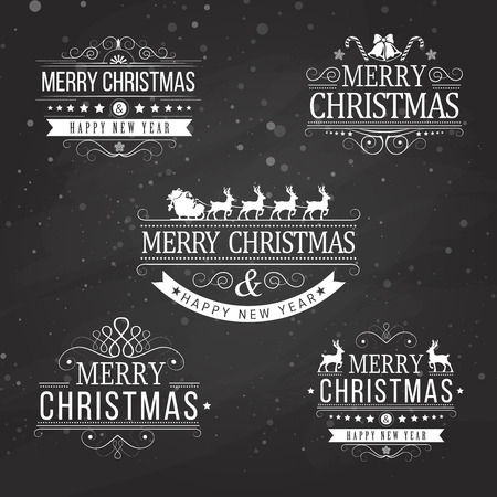fur tree: Christmas decoration collection of calligraphic and typographic elements on black with frames, vintage labels. Ribbons, stickers, Santa and angel. Hand drawn christmas balls, fur tree branches and gifts. Illustration