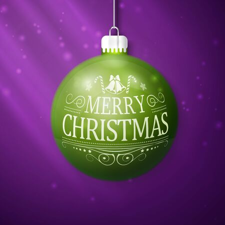 violet background: green merry christmas ball isolated on violet background