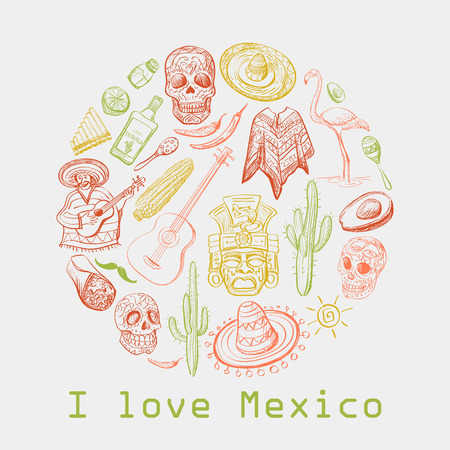 Mexican culture symbols- guitar, sombrero, tequila, taco, skull, aztec mask, music instruments. Isolated national elements made in vector. With text I love Mexico Illustration