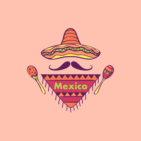 Mexican label and emblem- sombrero, maracas, mustaches. Isolated national elements made in vector. Illustration