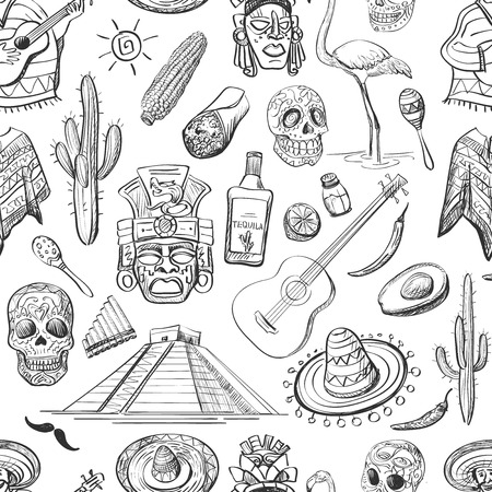 taco: Mexican seamless pattern-guitar, sombrero, tequila, taco, skull, aztec mask, music instruments. Isolated national elements made in vector.