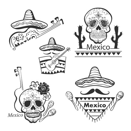 Mexican set of labels and stickers with icons- guitar, sombrero, tequila, taco, skull, aztec mask, music instruments. Isolated national elements made in vector.