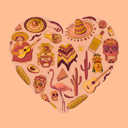 Mexico love - heart with set- guitar, sombrero, tequila, taco, skull, aztec mask, music instruments. Isolated national elements made in vector. Иллюстрация