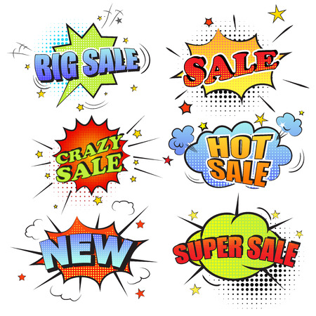 Set of pop art comic sale discount promotion vector illustration. Sale, new, hot sale, super sale. Stock Illustratie