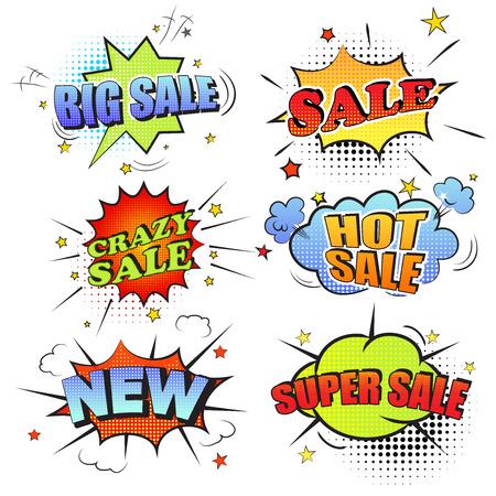 Set van pop art comic verkoop korting promotie vector illustratie. Verkoop, nieuwe, hete verkoop, super verkoop.