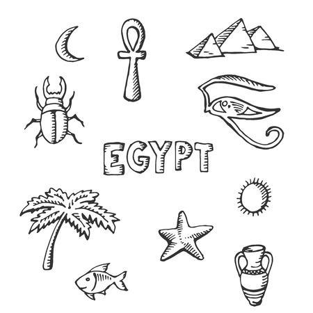 pyramid of the sun: sketch collection of Egyptian symbols-palm, Egypt, fish, Scarabaeus, starfish, pyramids, jug, sun.