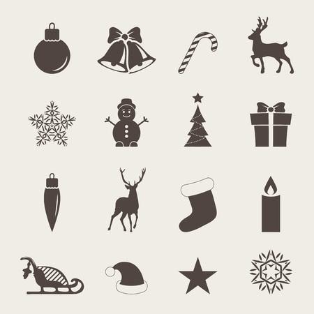 De pictogrammen van Kerstmis met kerst wanten, snoep riet, hulst bessen, glimlachende sneeuwman, rode kous, ar, kerstmis boom, herten, Santa, engel, kaars, kerstmis speelgoed, kerstmuts, giften en klokken.