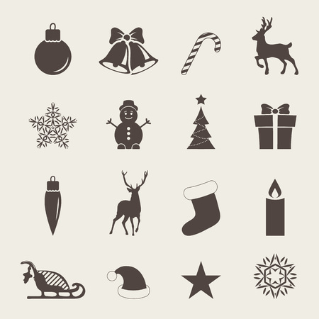 Christmas icons with Christmas mittens, candy cane, holly berries, smiling snowman, red stocking, sleigh, xmas tree, Deer,  Santa, angel, candle, christmas toys, santa hat, gifts and bells. Illustration