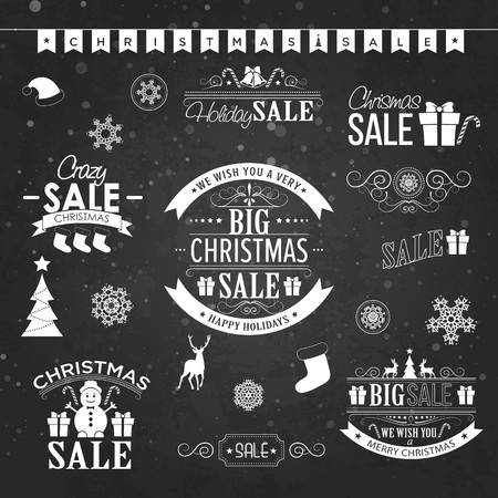 advertising board: Christmas sale design set - labels, emblems on black board with xmas tree, deer, santa, angel, candle, christmas toys, gifts and bells.