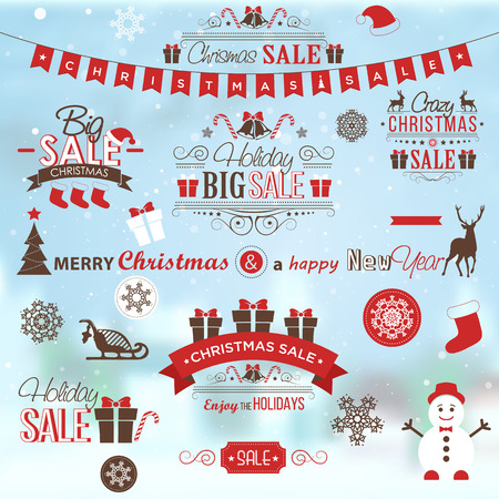 Christmas sale design set - labels, emblems with xmas tree, deer, santa, angel, candle, christmas toys, gifts and bells.