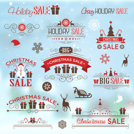 klaus: Christmas sale design set - labels, emblems with xmas tree, deer, santa, angel, candle, christmas toys, gifts and bells.