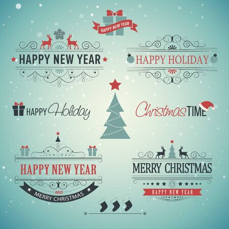 emblem: Christmas set - labels, emblems and other decorative elements with xmas tree, deer, santa, angel, candle, christmas toys, gifts and bells. Illustration