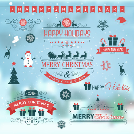 happy holidays: Christmas set labels emblems on winter background with xmas tree, deer, santa, angel, candle, christmas toys, gifts and bells.