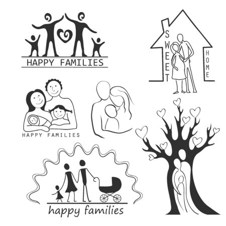 father and child: Family Icons Set Editable For Your Design - Isolated On White Background - Vector Illustration