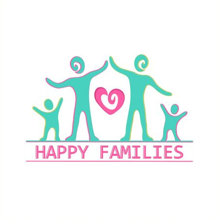 female portrait: Family label and emblem For Your Design - Isolated On White Background - Vector Illustration Illustration