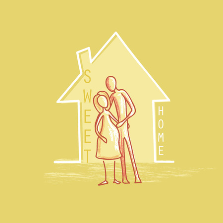 family isolated: Family label and emblem For Your Design - Isolated On Yellow Background - Vector Illustration