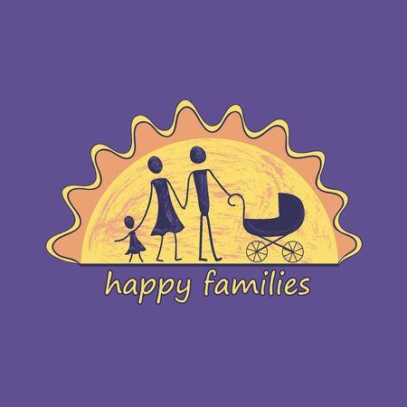 violet background: Family label and emblem For Your Design - Isolated On Violet Background - Vector Illustration