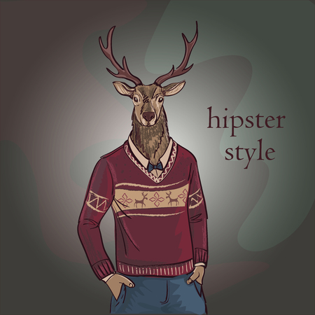 jacquard: Hand Drawn Vector Illustration of Deer Hipster in Jacquard Sweater, Merry Christmas Card