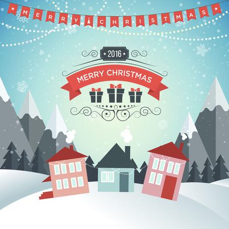 winter snow: New Year. Winter holidays landscape. Merry Christmas. Excellent vector illustration, EPS 10