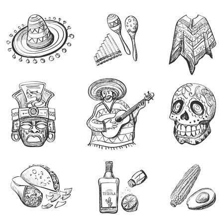 Set of Mexico vector illustrations, such as guitar, sombrero, tequila, taco, skull, rum, aztec mask, music instruments.