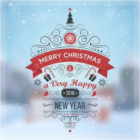 New Year. Winter holidays landscape. Merry Christmas. Excellent vector illustration, EPS 10