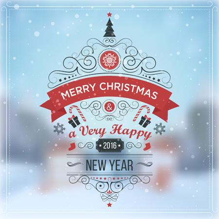 Nieuwjaar. Wintervakantie landschap. Vrolijk kerstfeest. Uitstekende vector illustratie, EPS-10 Stockfoto - 46093240