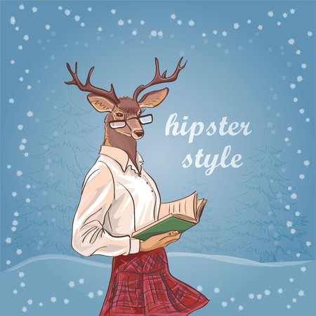 anthropomorphism: Hand Drawn Vector Illustration of Deer Hipster. Merry Christmas Card