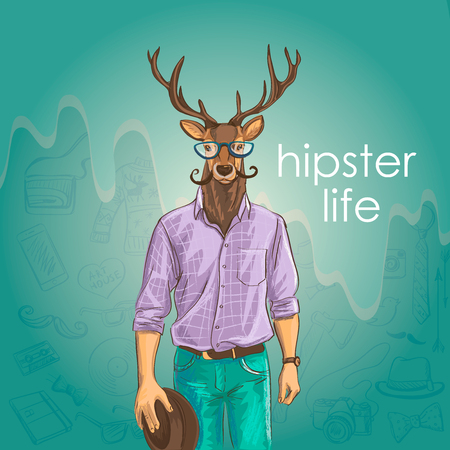 Hand Drawn Vector Illustration of Deer Hipster. Merry Christmas Card