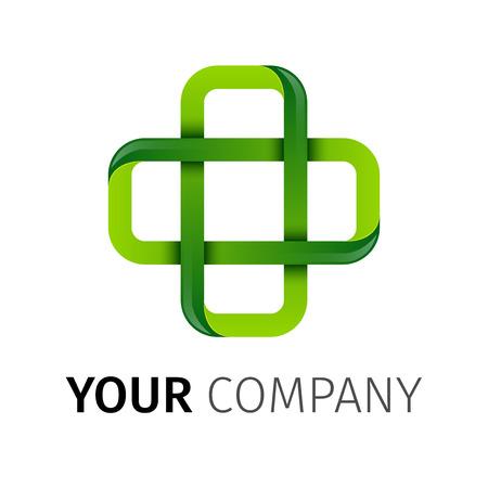 Apotheek Groene kruis abstract vector ontwerp sjabloon. Geneeskunde, gezondheidszorg, groene concept pictogram eco creatief. Farmaceutische symbool. Stock Illustratie