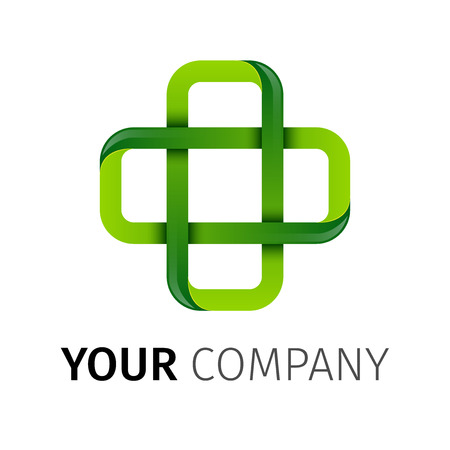 medizin logo: Apotheke Grüne Kreuz abstrakte Vektor-Logo-Design-Vorlage. Medikament, Gesundheitswesen, grüne Öko kreative Konzept-Symbol. Pharma-Symbol. Illustration