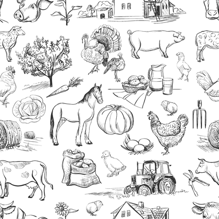 seamless pattern with farm related items with cow, goat, pig, chicken, rooster, horse, turkey, tractor, rakes, sunflowers, cabbage, carrots, eggs, milk, haystack