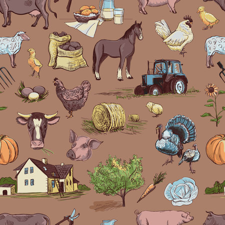 rakes: seamless pattern with farm related items with cow, goat, pig, chicken, rooster, horse, turkey, tractor, rakes, sunflowers, cabbage, carrots, eggs, milk, haystack