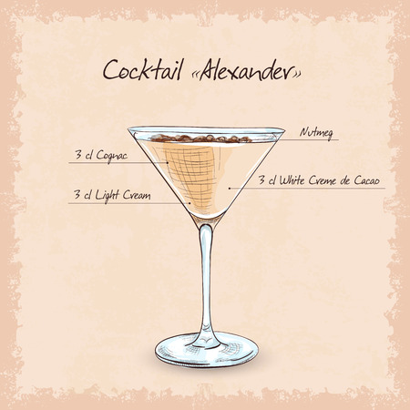 brandy: Cocktail Alexander, low-alcohol drink. Milk-chocolate flavor and charming color